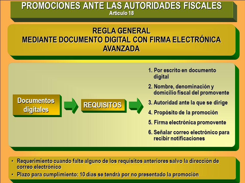 PROMOCIONES ANTE LAS AUTORIDADES FISCALES Artículo 18
