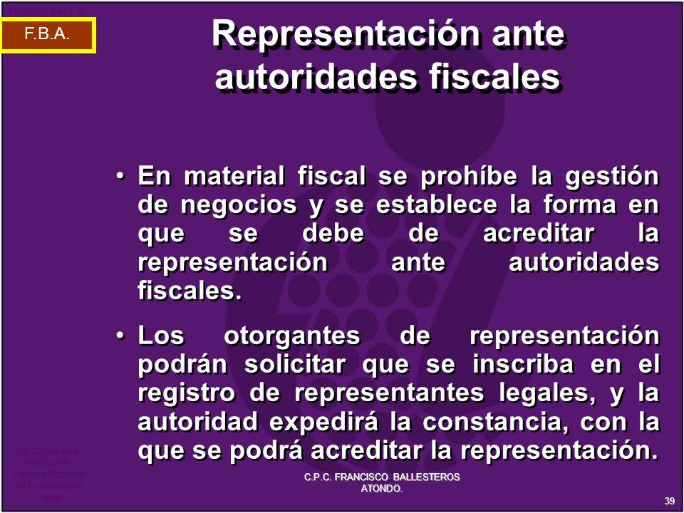 Representación ante autoridades fiscales