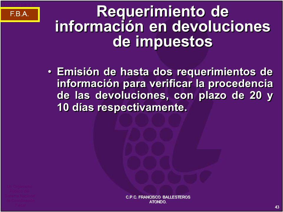 Requerimiento de información en devoluciones de impuestos