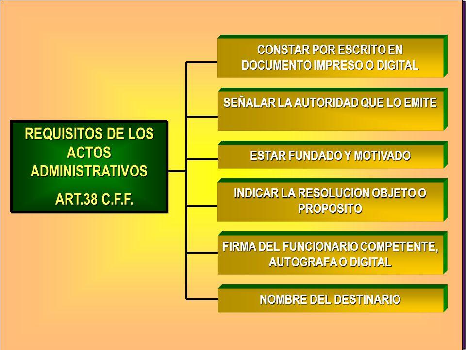 REQUISITOS DE LOS ACTOS ADMINISTRATIVOS ART.38 C.F.F.