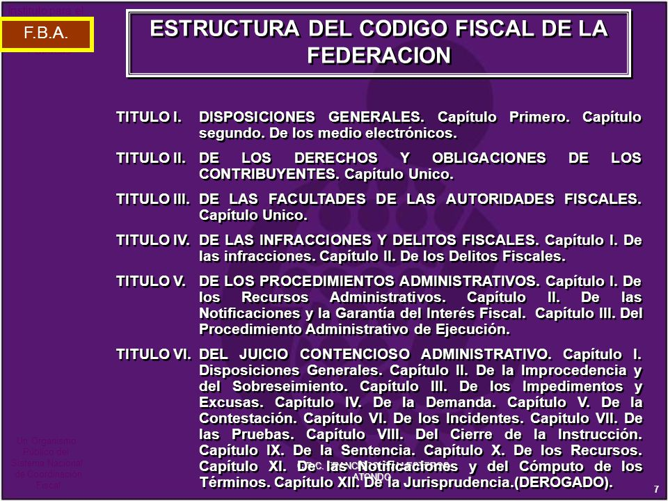 ESTRUCTURA DEL CODIGO FISCAL DE LA FEDERACION