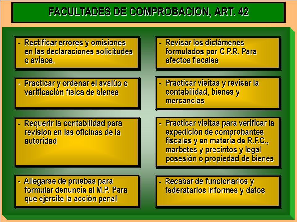 FACULTADES DE COMPROBACION, ART. 42