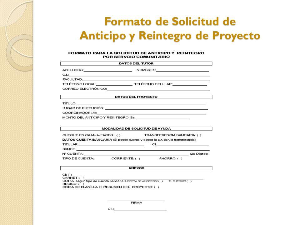 Formato de Solicitud de Anticipo y Reintegro de Proyecto