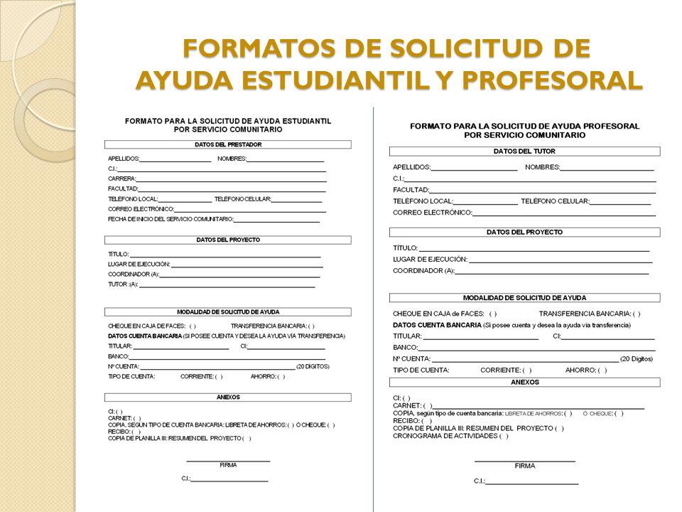 FORMATOS DE SOLICITUD DE AYUDA ESTUDIANTIL Y PROFESORAL