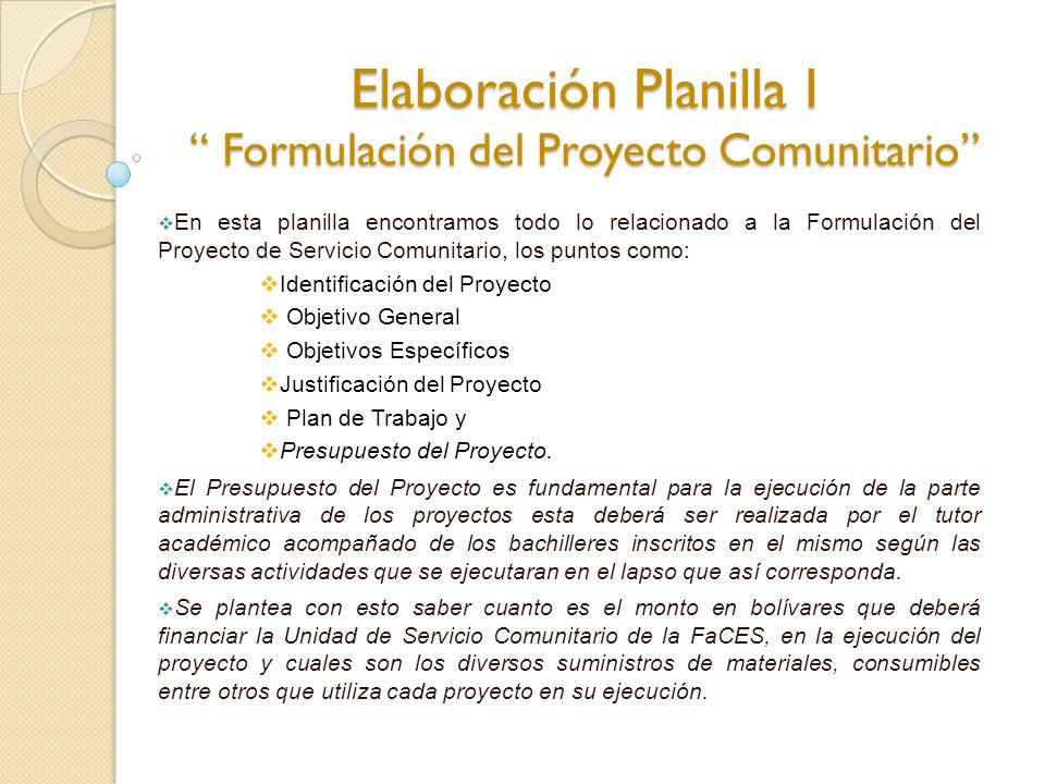 Elaboración Planilla I Formulación del Proyecto Comunitario