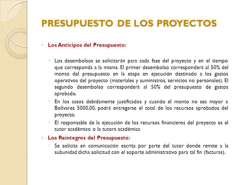 PRESUPUESTO DE LOS PROYECTOS