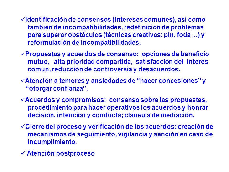Identificación de consensos (intereses comunes), así como
