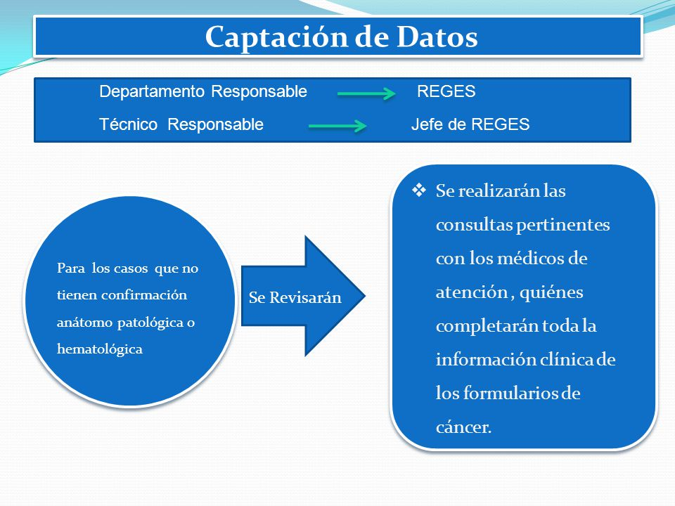 Captación de Datos Departamento Responsable REGES. Técnico Responsable Jefe de REGES.