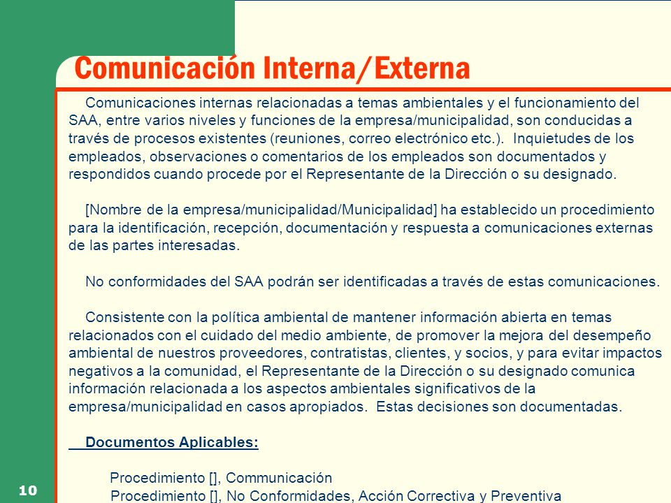 Comunicación Interna/Externa