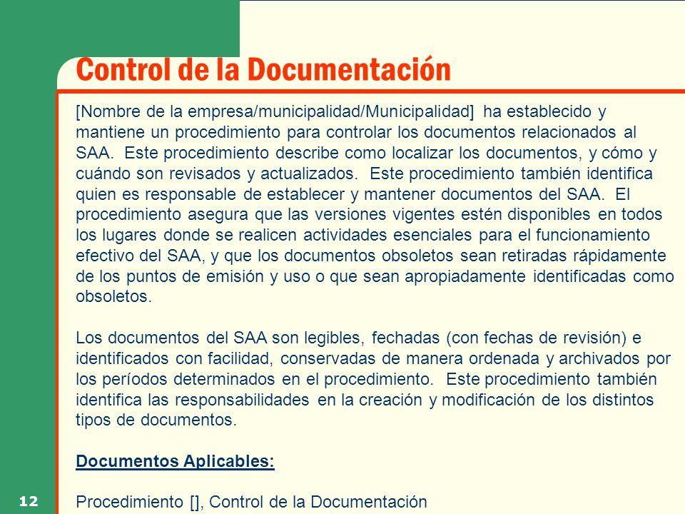 Control de la Documentación