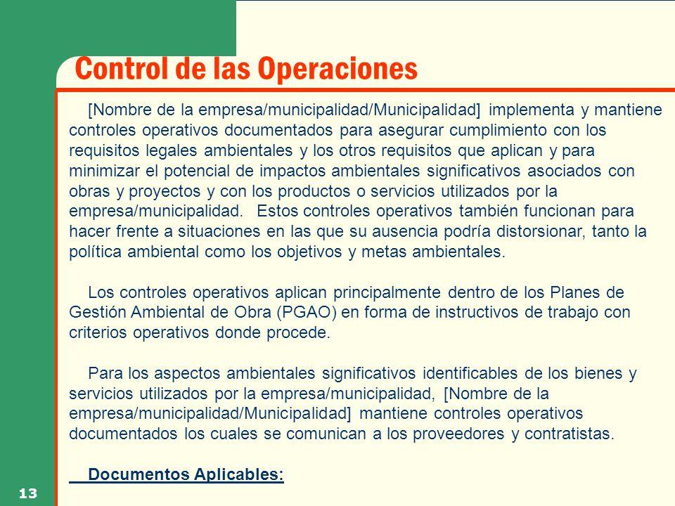 Control de las Operaciones