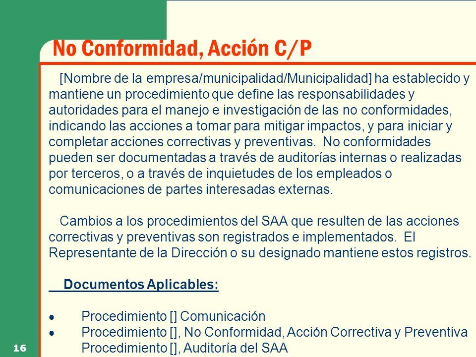 No Conformidad, Acción C/P