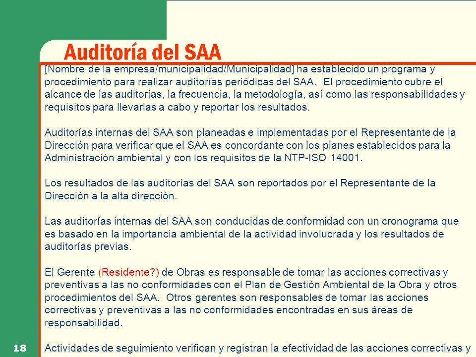 Auditoría del SAA