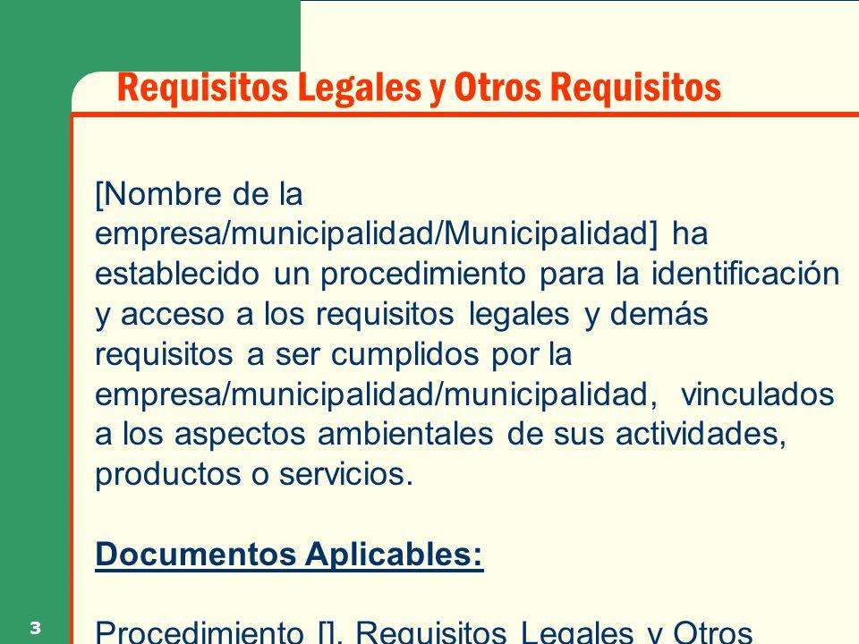 Requisitos Legales y Otros Requisitos