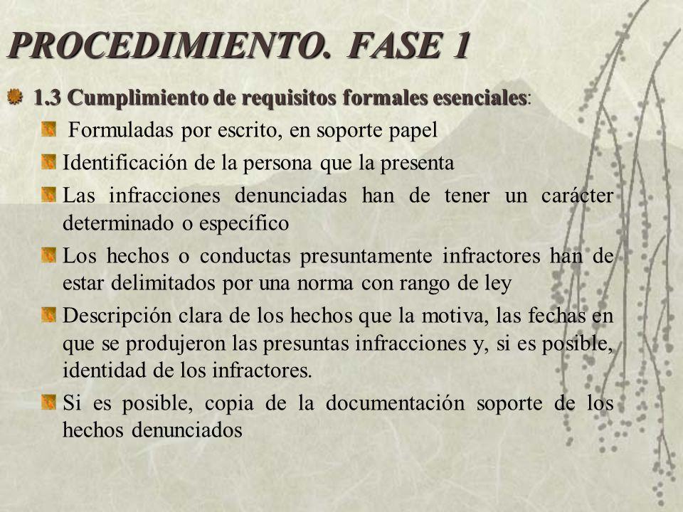 PROCEDIMIENTO. FASE 1 1.3 Cumplimiento de requisitos formales esenciales: Formuladas por escrito, en soporte papel.
