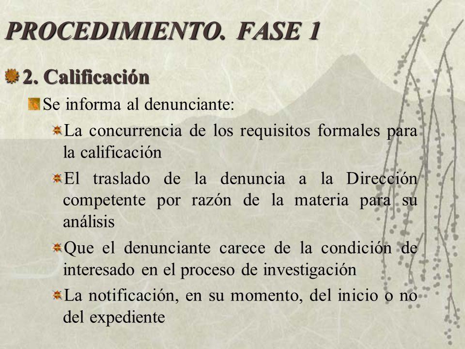 PROCEDIMIENTO. FASE 1 2. Calificación Se informa al denunciante: