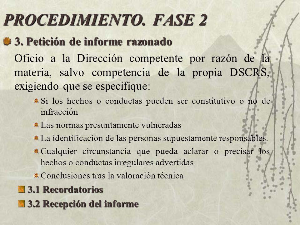 PROCEDIMIENTO. FASE 2 3. Petición de informe razonado