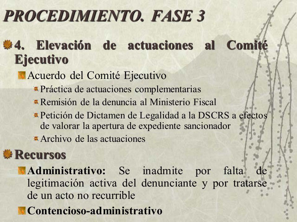 PROCEDIMIENTO. FASE 3 4. Elevación de actuaciones al Comité Ejecutivo