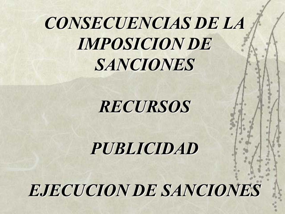 CONSECUENCIAS DE LA IMPOSICION DE SANCIONES RECURSOS PUBLICIDAD EJECUCION DE SANCIONES
