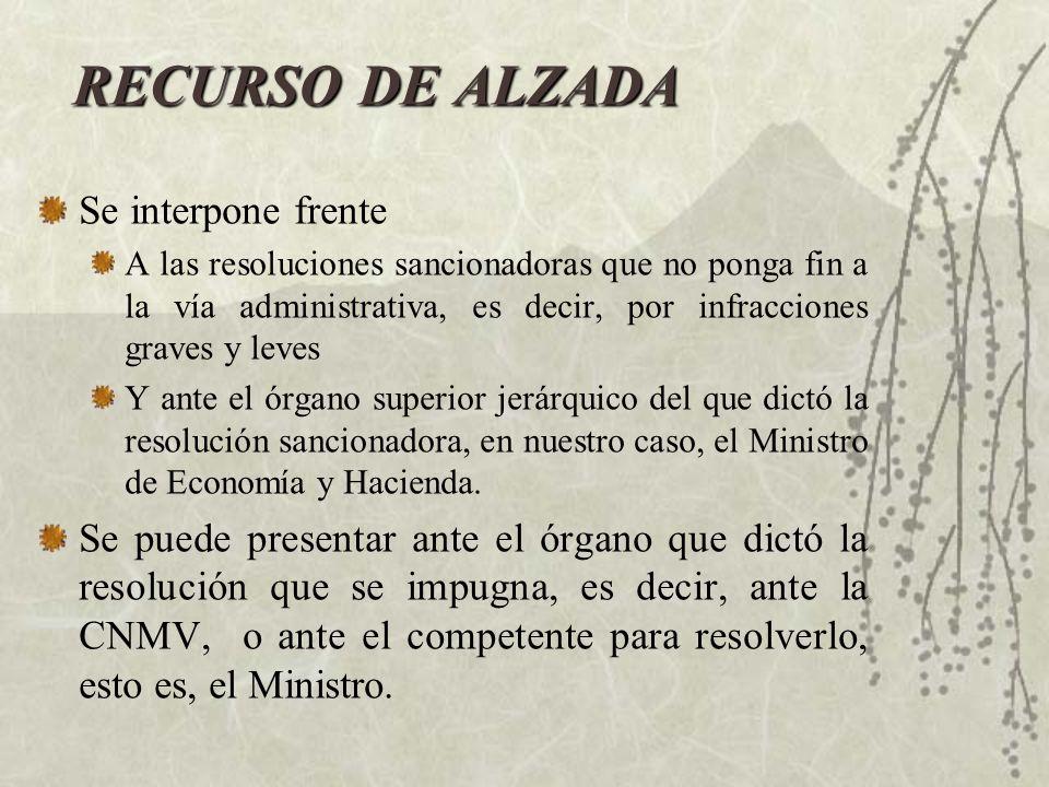 RECURSO DE ALZADA Se interpone frente