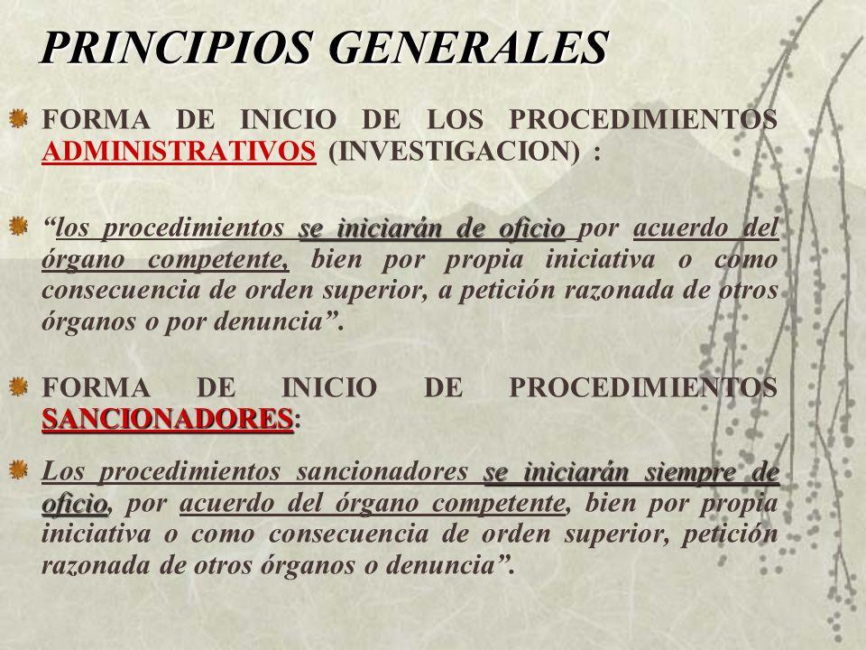 PRINCIPIOS GENERALES FORMA DE INICIO DE LOS PROCEDIMIENTOS ADMINISTRATIVOS (INVESTIGACION) :