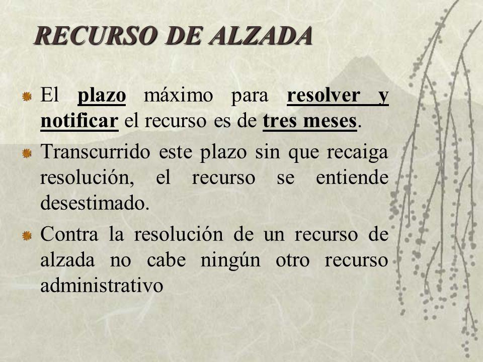RECURSO DE ALZADA El plazo máximo para resolver y notificar el recurso es de tres meses.