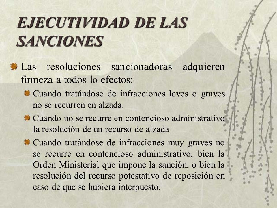 EJECUTIVIDAD DE LAS SANCIONES