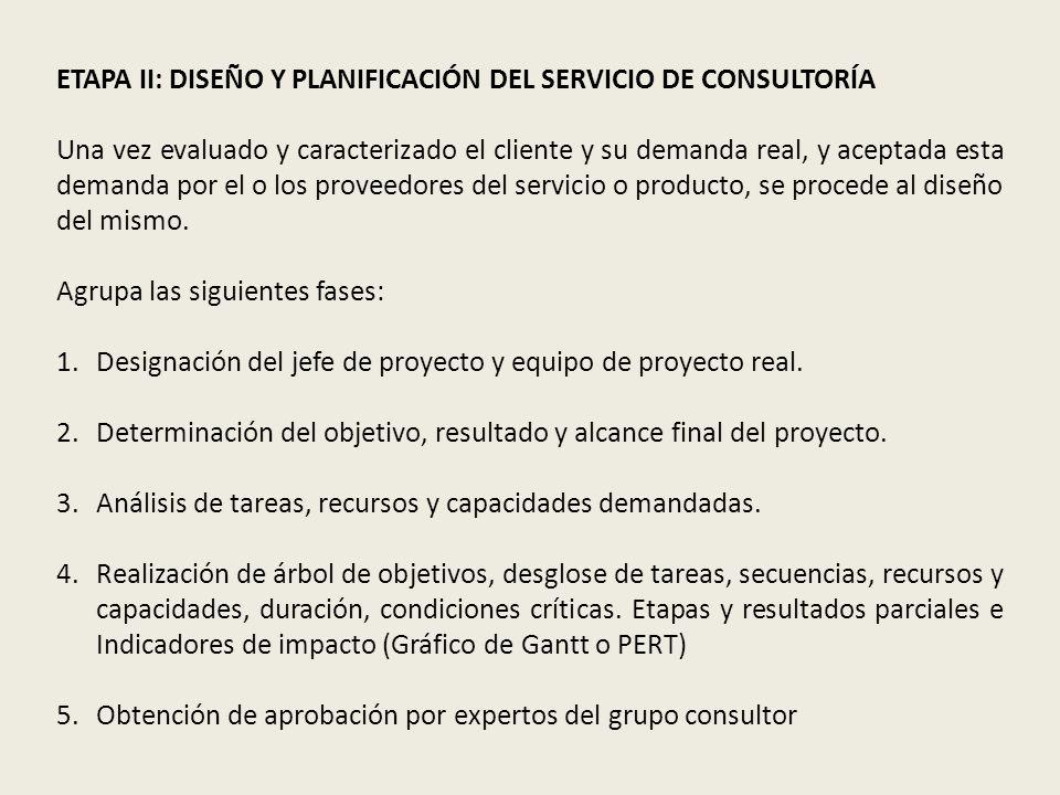 ETAPA II: DISEÑO Y PLANIFICACIÓN DEL SERVICIO DE CONSULTORÍA