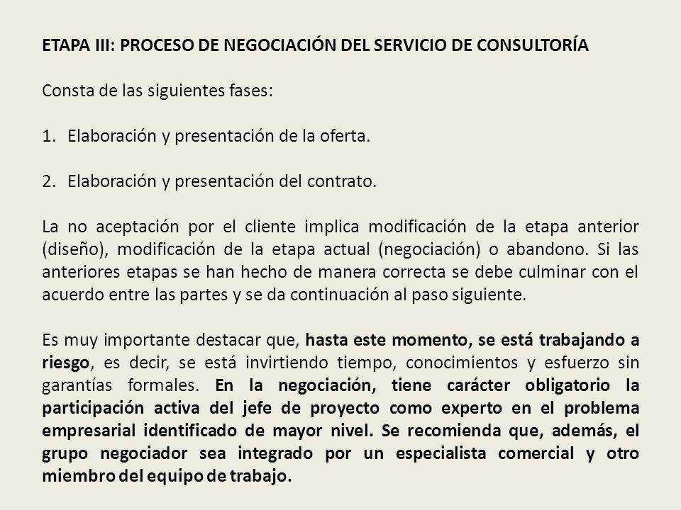 ETAPA III: PROCESO DE NEGOCIACIÓN DEL SERVICIO DE CONSULTORÍA