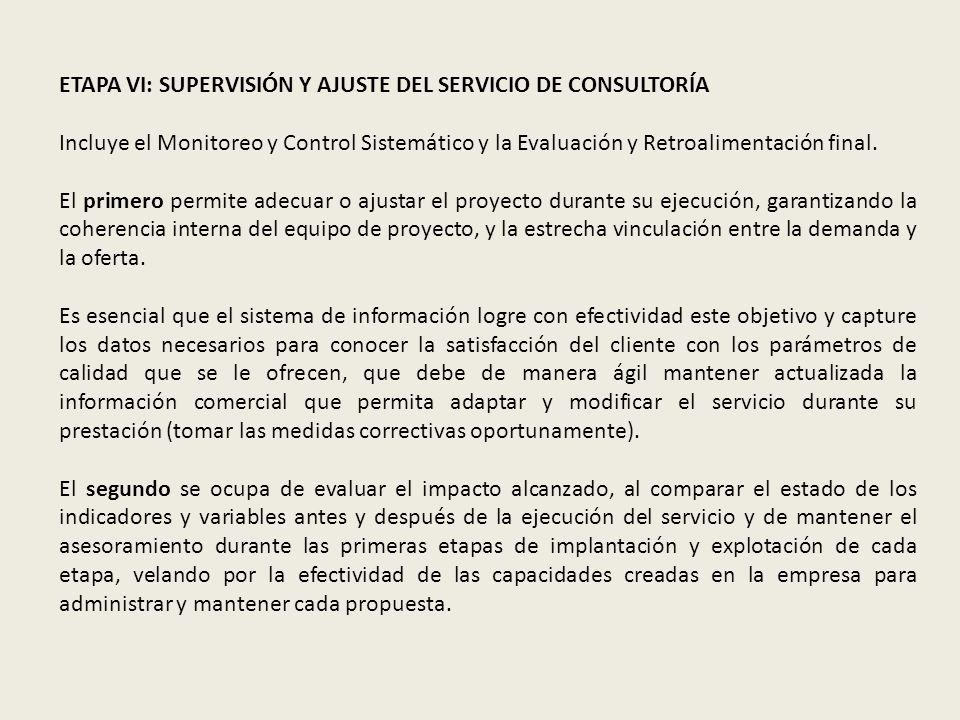 ETAPA VI: SUPERVISIÓN Y AJUSTE DEL SERVICIO DE CONSULTORÍA