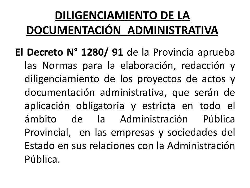 DILIGENCIAMIENTO DE LA DOCUMENTACIÓN ADMINISTRATIVA