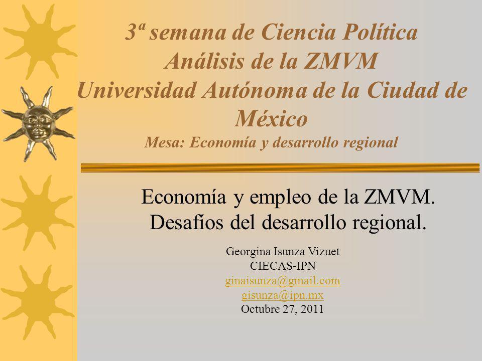 Economía y empleo de la ZMVM. Desafíos del desarrollo regional.