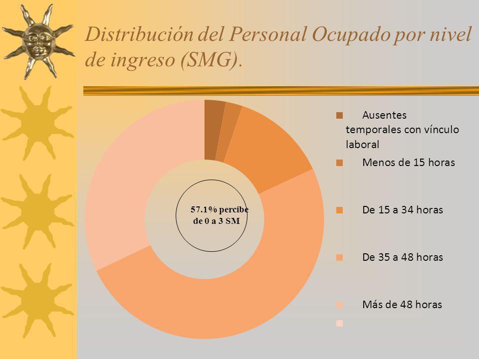 Distribución del Personal Ocupado por nivel de ingreso (SMG).