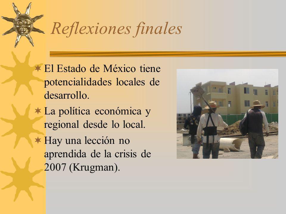 Reflexiones finales El Estado de México tiene potencialidades locales de desarrollo. La política económica y regional desde lo local.