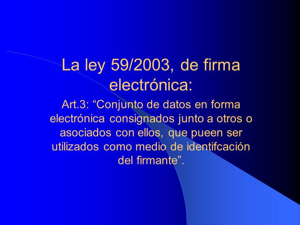 La ley 59/2003, de firma electrónica: