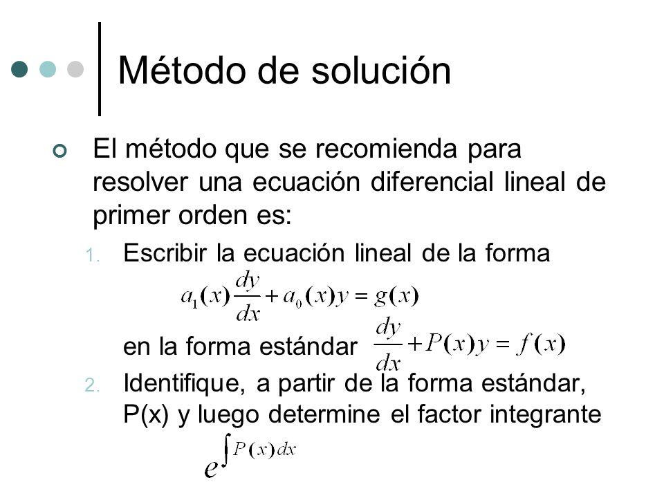 Método de solución El método que se recomienda para resolver una ecuación diferencial lineal de primer orden es: