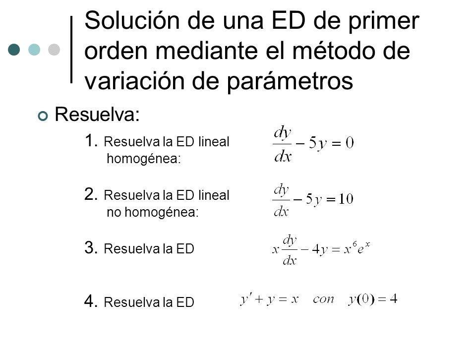 Solución de una ED de primer orden mediante el método de variación de parámetros