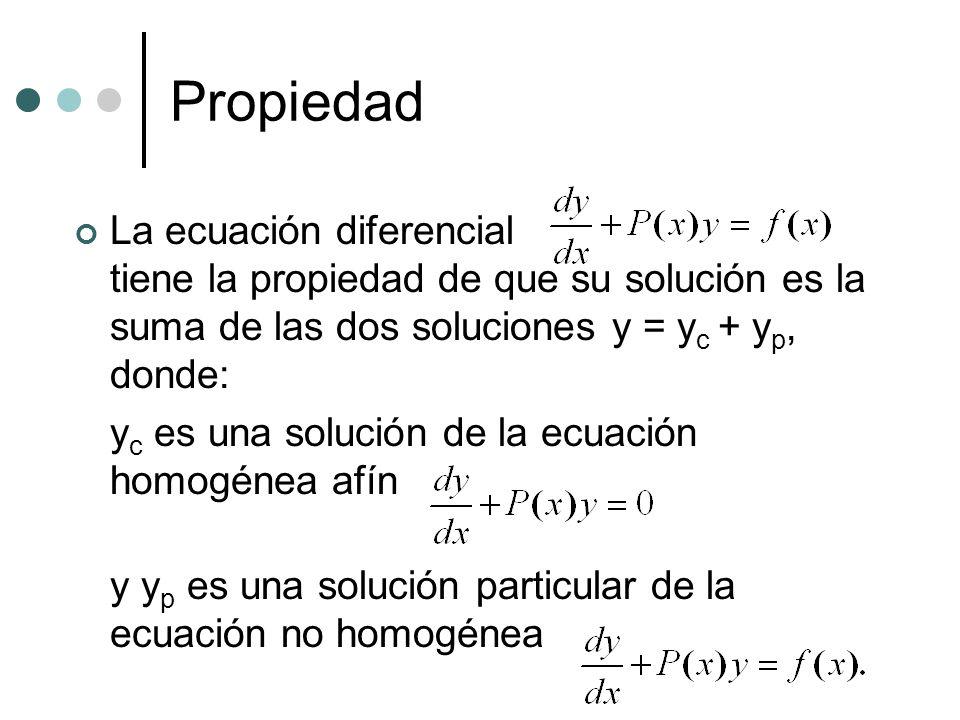 Propiedad La ecuación diferencial tiene la propiedad de que su solución es la suma de las dos soluciones y = yc + yp, donde: