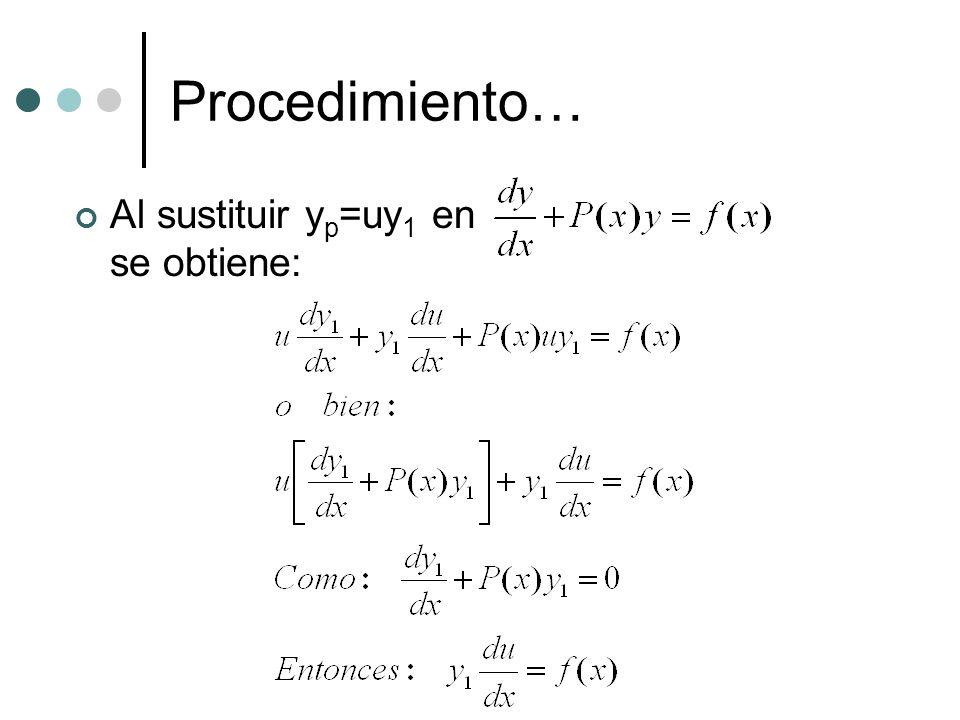 Procedimiento… Al sustituir yp=uy1 en se obtiene: