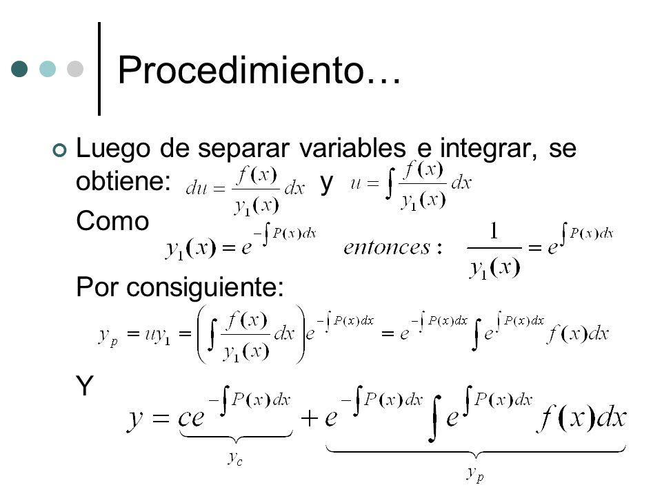 Procedimiento… Luego de separar variables e integrar, se obtiene: y