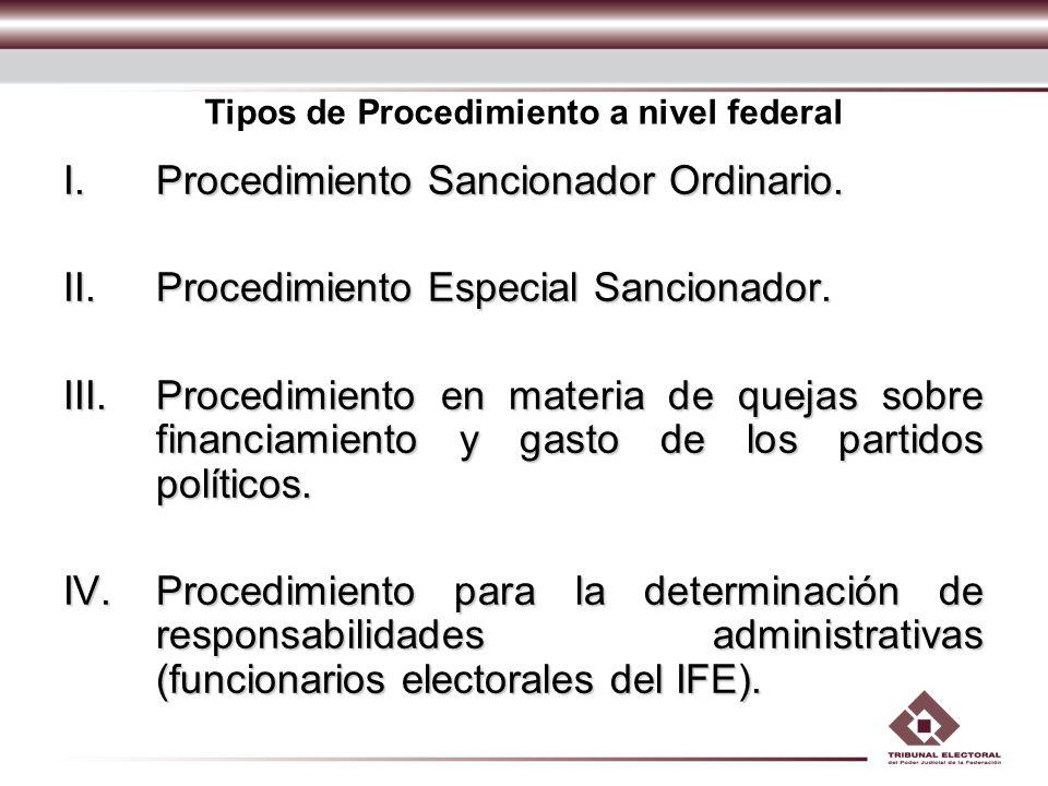 Tipos de Procedimiento a nivel federal