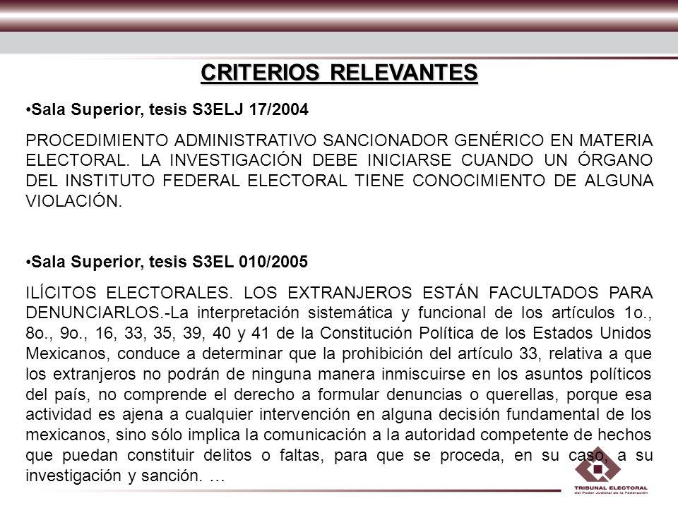 CRITERIOS RELEVANTES Sala Superior, tesis S3ELJ 17/2004