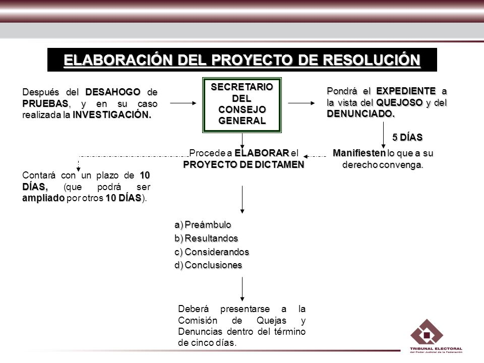 ELABORACIÓN DEL PROYECTO DE RESOLUCIÓN SECRETARIO DEL CONSEJO GENERAL