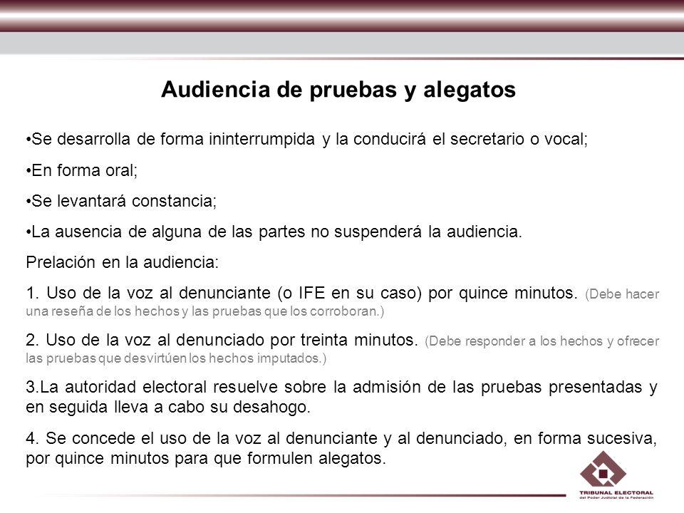 Audiencia de pruebas y alegatos