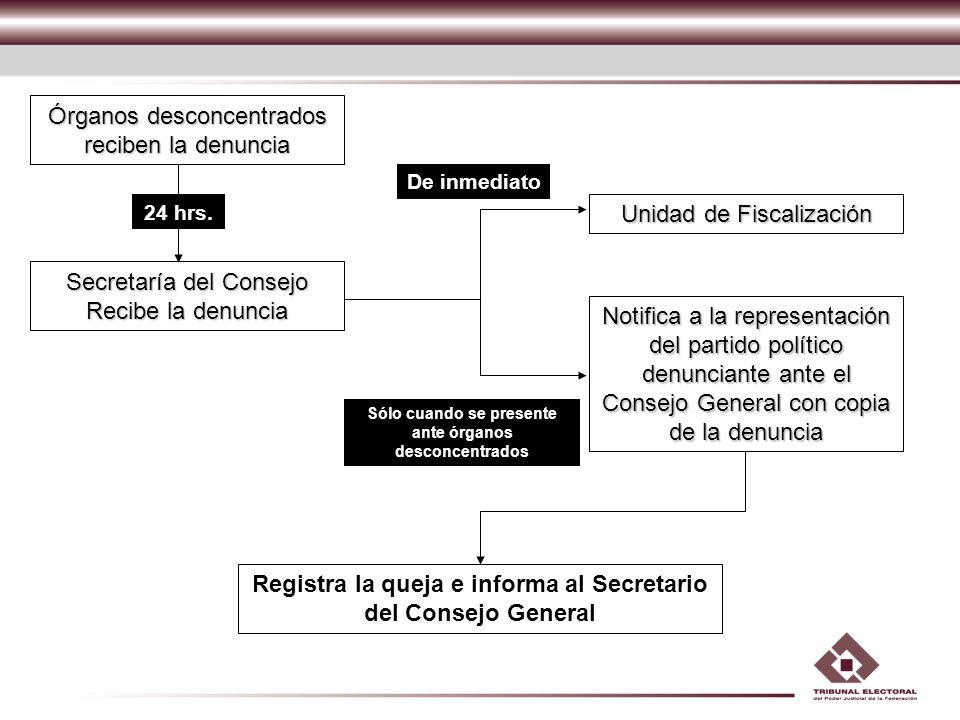 Registra la queja e informa al Secretario del Consejo General