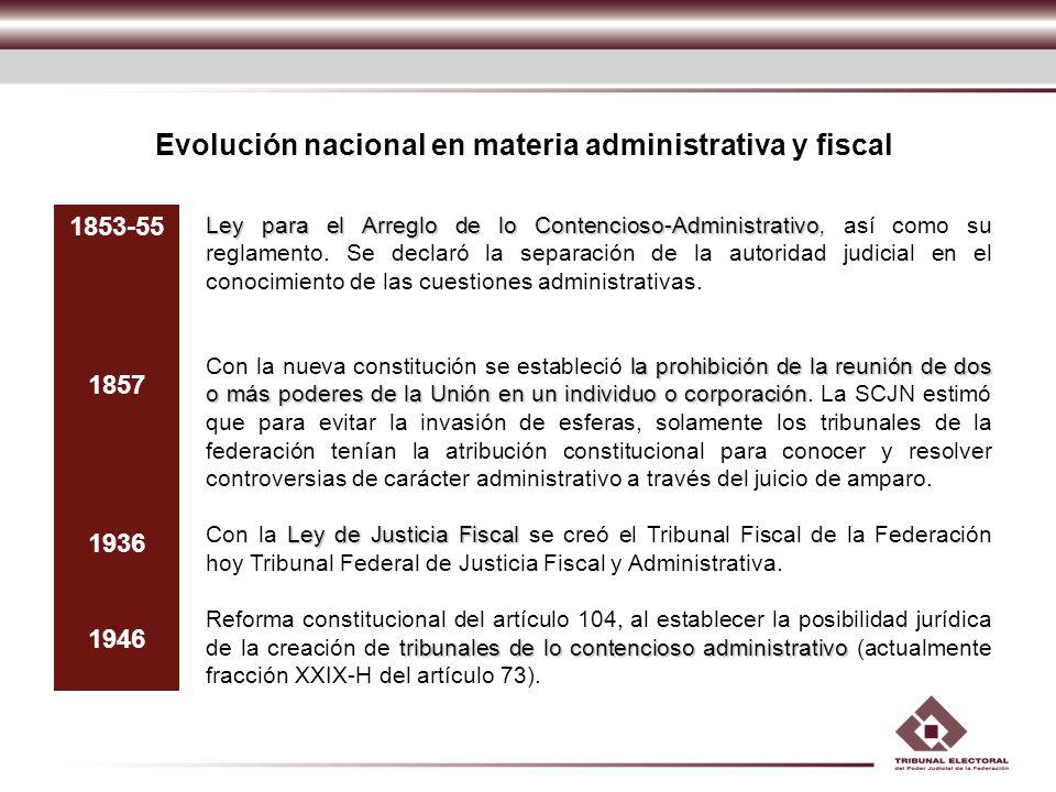 Evolución nacional en materia administrativa y fiscal