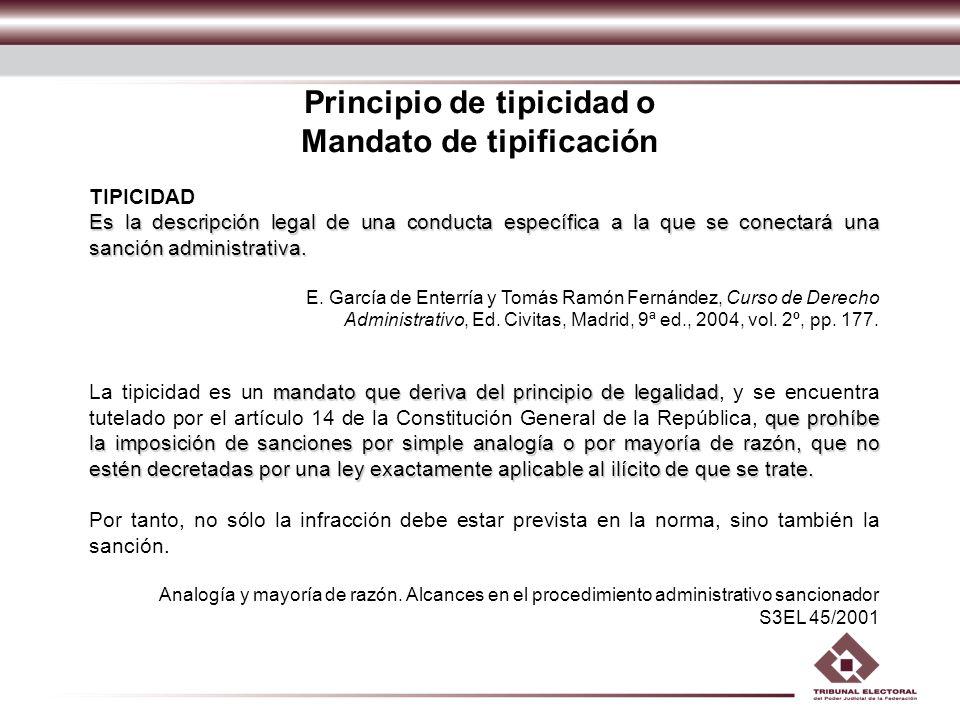 Principio de tipicidad o Mandato de tipificación