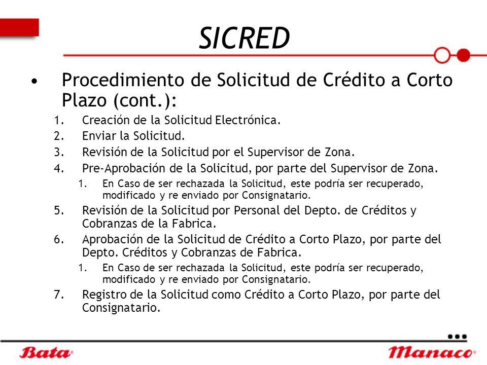 SICRED Procedimiento de Solicitud de Crédito a Corto Plazo (cont.):