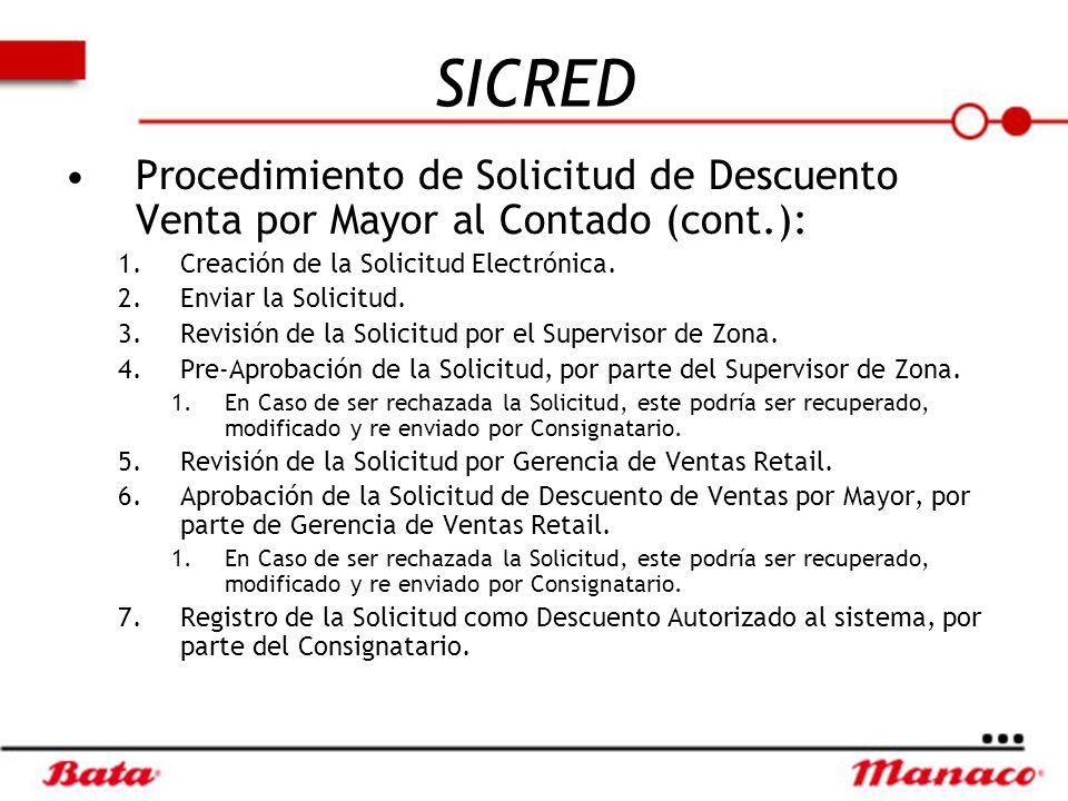 SICRED Procedimiento de Solicitud de Descuento Venta por Mayor al Contado (cont.): Creación de la Solicitud Electrónica.