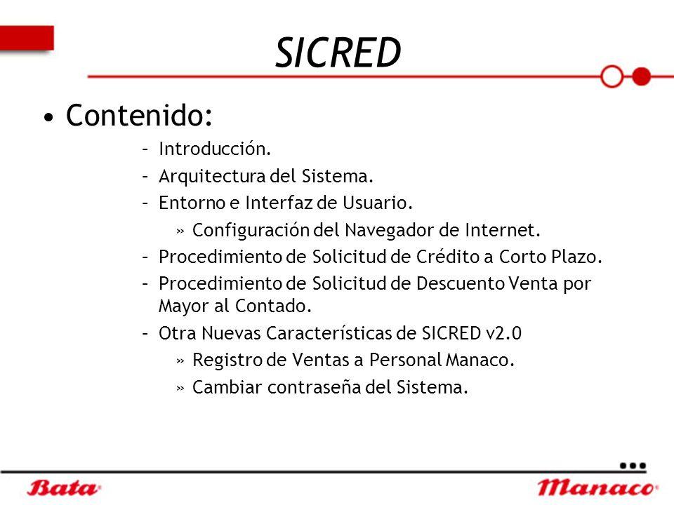 SICRED Contenido: Introducción. Arquitectura del Sistema.